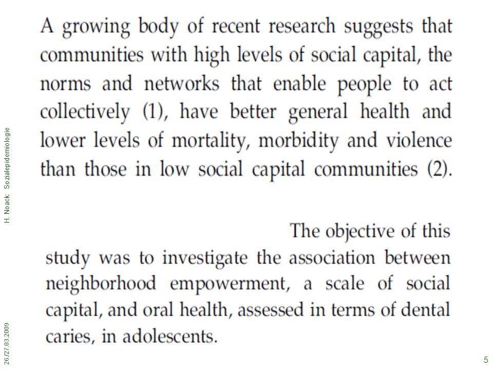 26./27.03.2009 H. Noack: Sozialepidemiologie 6 Methods