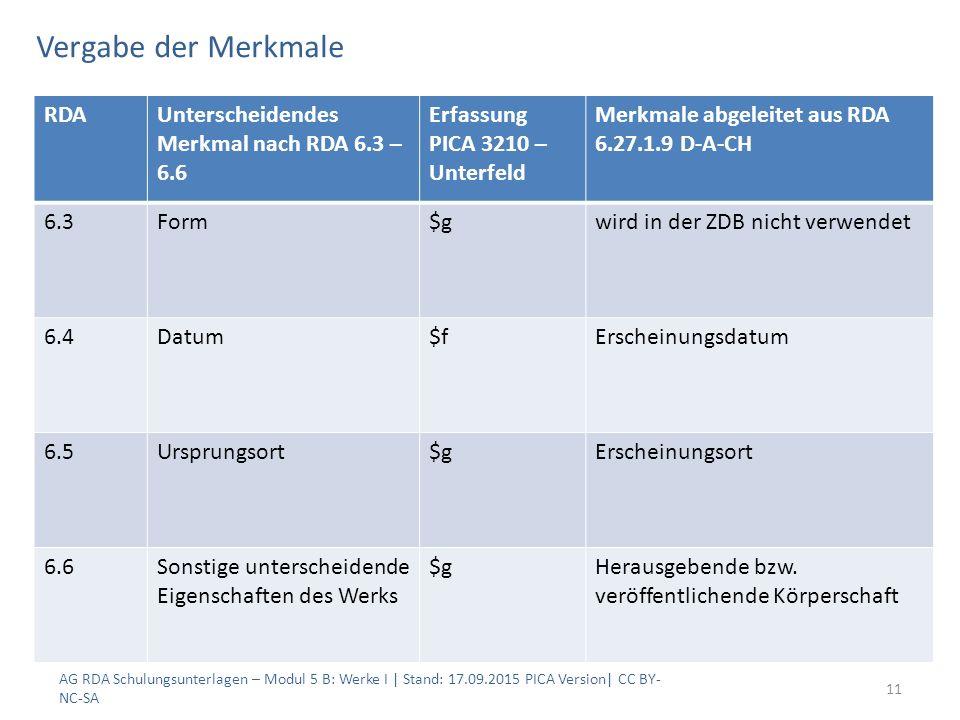 Vergabe der Merkmale AG RDA Schulungsunterlagen – Modul 5 B: Werke I | Stand: 17.09.2015 PICA Version| CC BY- NC-SA 11 RDAUnterscheidendes Merkmal nac