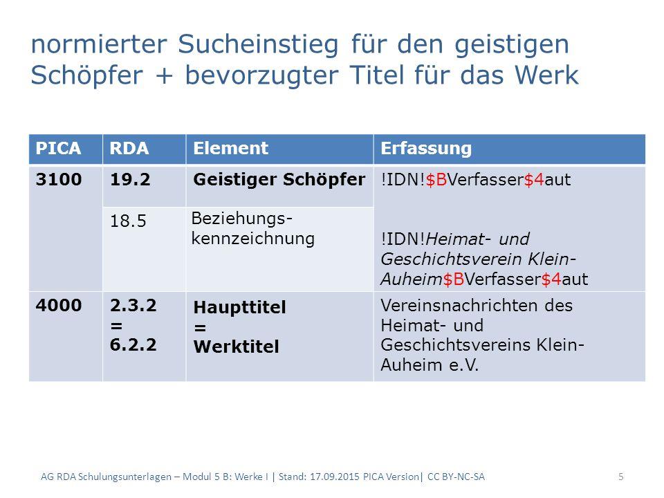 normierter Sucheinstieg für den geistigen Schöpfer + bevorzugter Titel für das Werk AG RDA Schulungsunterlagen – Modul 5 B: Werke I | Stand: 17.09.201