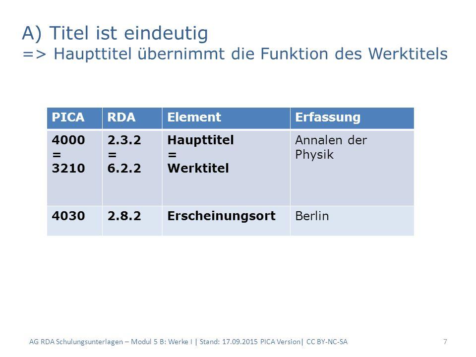 A) Titel ist eindeutig => Haupttitel übernimmt die Funktion des Werktitels AG RDA Schulungsunterlagen – Modul 5 B: Werke I | Stand: 17.09.2015 PICA Ve
