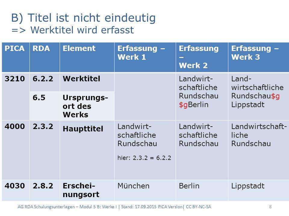B) Titel ist nicht eindeutig => Werktitel wird erfasst AG RDA Schulungsunterlagen – Modul 5 B: Werke I | Stand: 17.09.2015 PICA Version| CC BY-NC-SA8