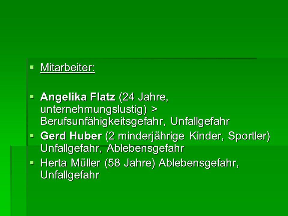  Mitarbeiter:  Angelika Flatz (24 Jahre, unternehmungslustig) > Berufsunfähigkeitsgefahr, Unfallgefahr  Gerd Huber (2 minderjährige Kinder, Sportler) Unfallgefahr, Ablebensgefahr  Herta Müller (58 Jahre) Ablebensgefahr, Unfallgefahr