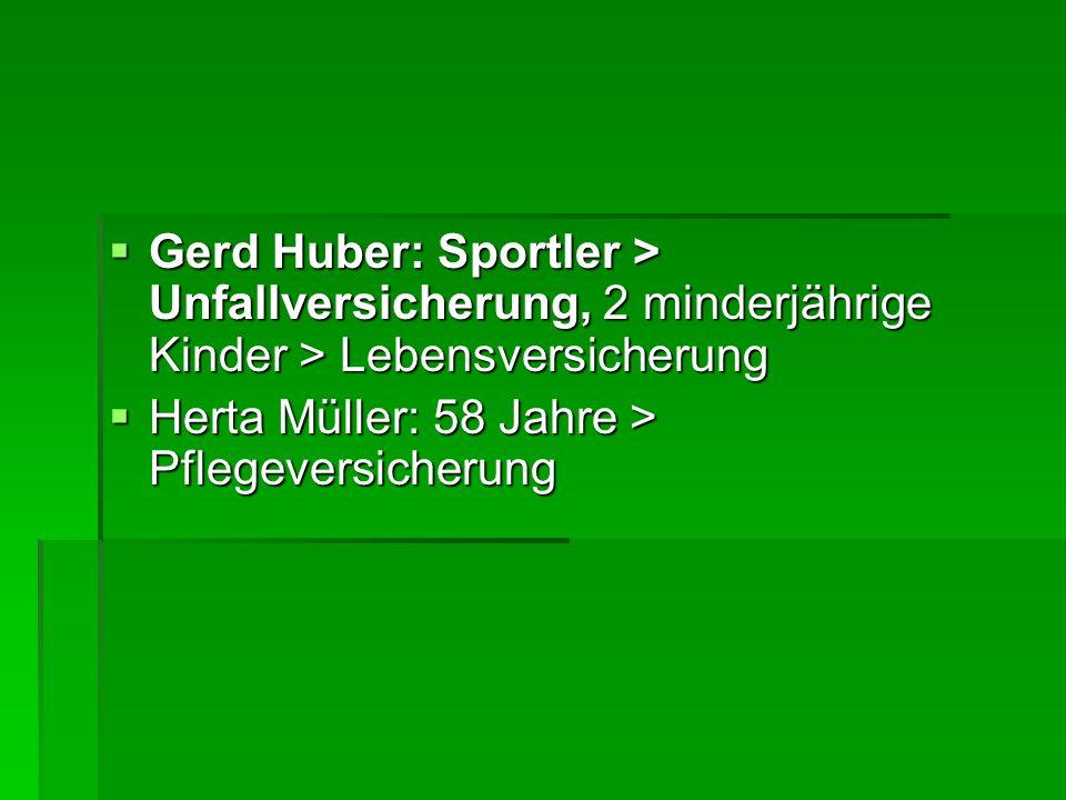  Gerd Huber: Sportler > Unfallversicherung, 2 minderjährige Kinder > Lebensversicherung  Herta Müller: 58 Jahre > Pflegeversicherung