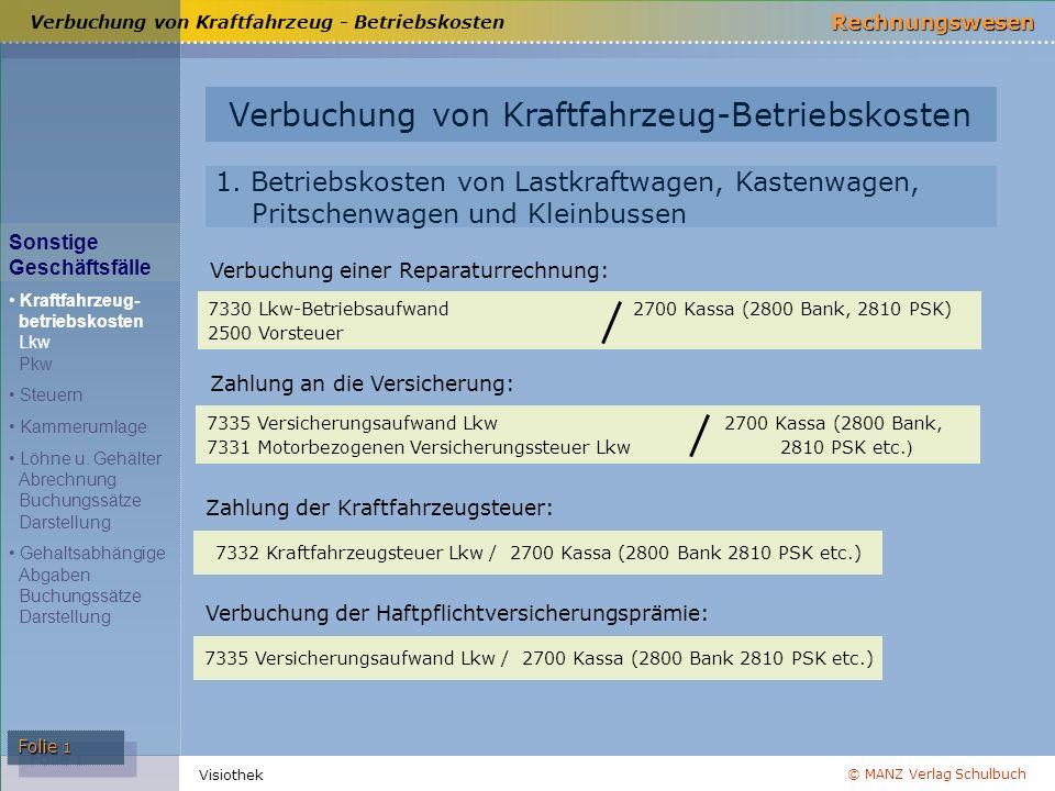 © MANZ Verlag Schulbuch Rechnungswesen Visiothek Folie 1 Verbuchung von Kraftfahrzeug-Betriebskosten Sonstige Geschäftsfälle Kraftfahrzeug- betriebsko