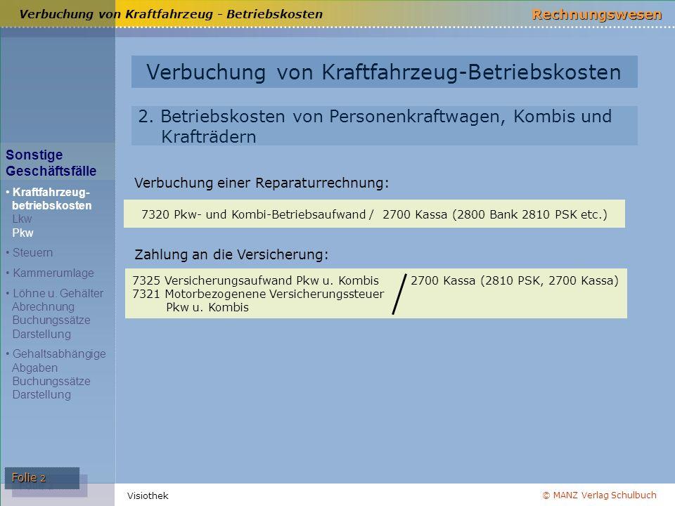 © MANZ Verlag Schulbuch Rechnungswesen Visiothek Folie 3 Verbuchung von Steuern Arten von Steuern hinsichtlich der Verbuchung Betriebliche Durchlaufsteuern Betriebliche Durchlaufsteuern Privatsteuern Aktivierungs- pflichtige Steuern Aktivierungs- pflichtige Steuern Verbuchung von Steuern und der Kammerumlage Betriebssteuern Sonstige Geschäftsfälle Kraftfahrzeug- betriebskosten Lkw Pkw Steuern Kammerumlage Löhne u.