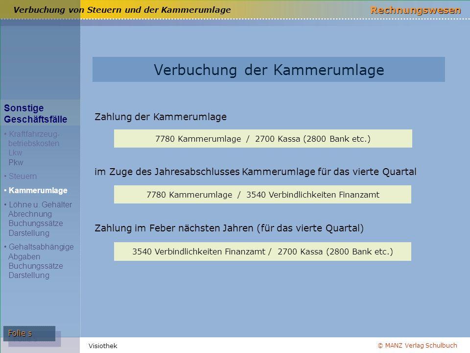 © MANZ Verlag Schulbuch Rechnungswesen Visiothek Folie 5 Verbuchung der Kammerumlage Verbuchung von Steuern und der Kammerumlage 7780 Kammerumlage / 2