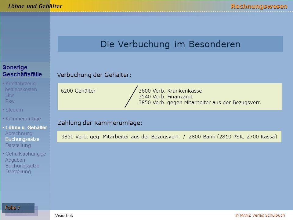 © MANZ Verlag Schulbuch Rechnungswesen Visiothek Folie 7 Die Verbuchung im Besonderen Verbuchung der Gehälter: 6200 Gehälter3600 Verb. Krankenkasse 35