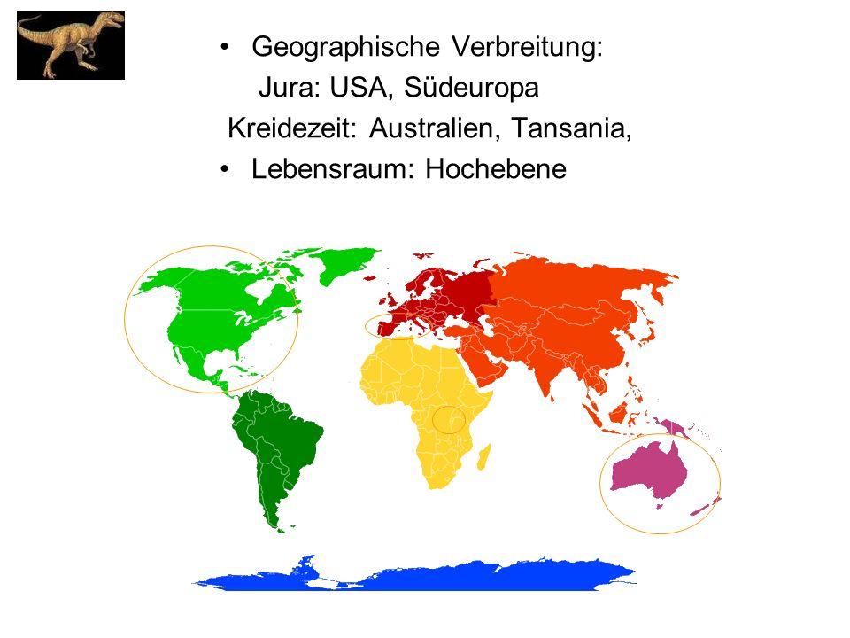 Geographische Verbreitung: Jura: USA, Südeuropa Kreidezeit: Australien, Tansania, Lebensraum: Hochebene