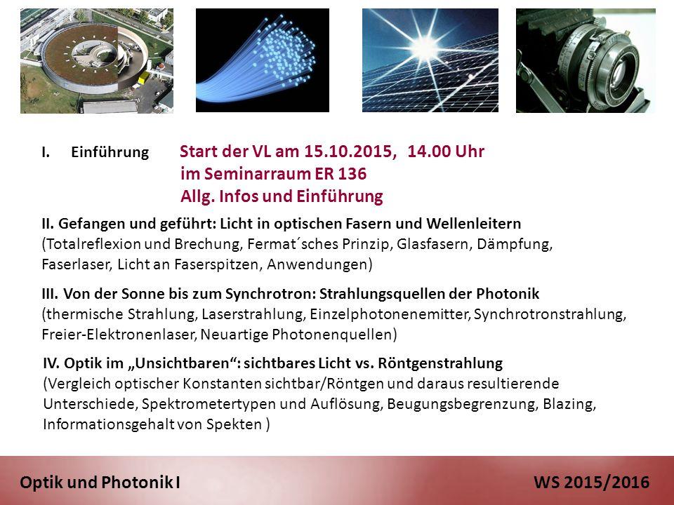 Optik und Photonik I WS 2015/2016 III.