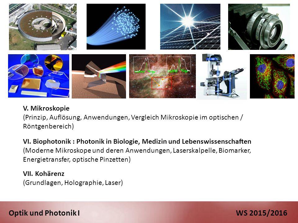 Optik und Photonik I WS 2015/2016 VI.