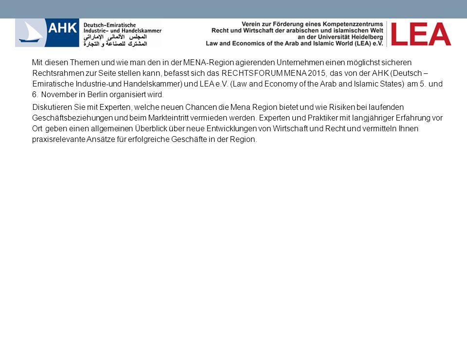 8.30 - 9.00Registrierung und Networking 9.00 - 9.10Willkommen und Einführung (AHK, DIHK) Dr.
