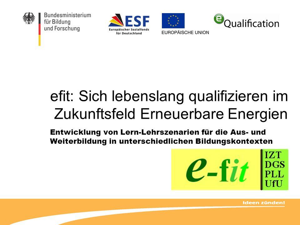 efit: Sich lebenslang qualifizieren im Zukunftsfeld Erneuerbare Energien Entwicklung von Lern-Lehrszenarien für die Aus- und Weiterbildung in untersch