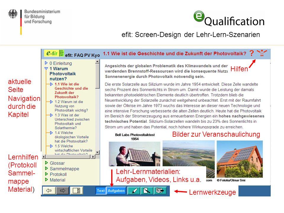 efit: Screen-Design der Lehr-Lern-Szenarien Bilder zur Veranschaulichung Navigation durch die Kapitel Lehr-Lernmaterialien: Aufgaben, Videos, Links u.