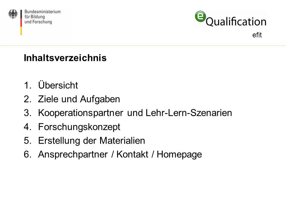 Inhaltsverzeichnis 1.Übersicht 2.Ziele und Aufgaben 3.Kooperationspartner und Lehr-Lern-Szenarien 4.Forschungskonzept 5.Erstellung der Materialien 6.A