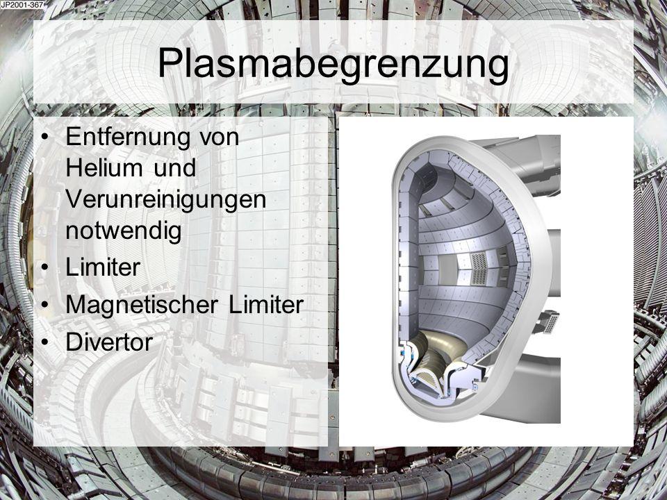 Plasmabegrenzung Entfernung von Helium und Verunreinigungen notwendig Limiter Magnetischer Limiter Divertor