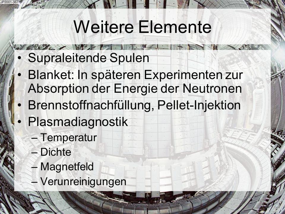 Weitere Elemente Supraleitende Spulen Blanket: In späteren Experimenten zur Absorption der Energie der Neutronen Brennstoffnachfüllung, Pellet-Injekti