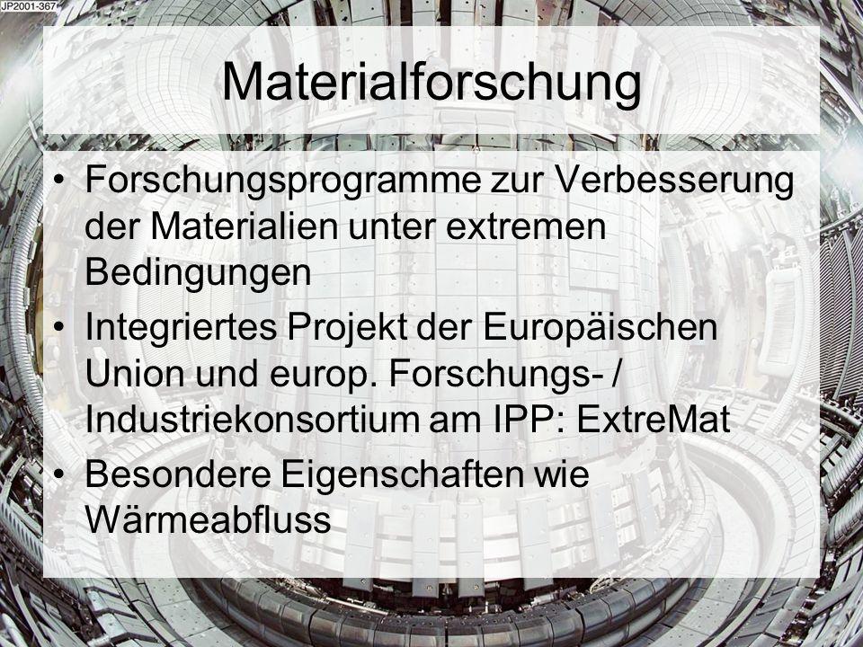 Materialforschung Forschungsprogramme zur Verbesserung der Materialien unter extremen Bedingungen Integriertes Projekt der Europäischen Union und euro