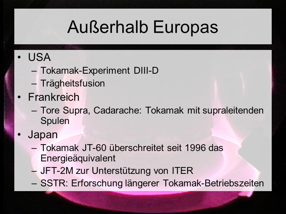 Außerhalb Europas USA –Tokamak-Experiment DIII-D –Trägheitsfusion Frankreich –Tore Supra, Cadarache: Tokamak mit supraleitenden Spulen Japan –Tokamak