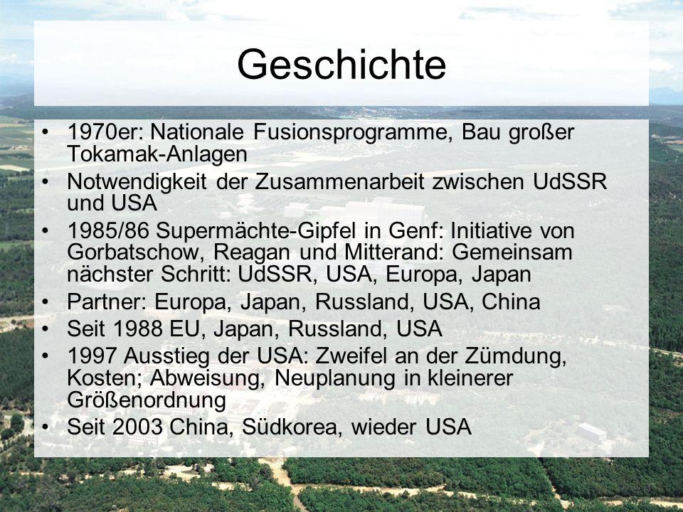 Geschichte 1970er: Nationale Fusionsprogramme, Bau großer Tokamak-Anlagen Notwendigkeit der Zusammenarbeit zwischen UdSSR und USA 1985/86 Supermächte-