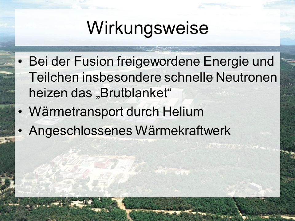 """Wirkungsweise Bei der Fusion freigewordene Energie und Teilchen insbesondere schnelle Neutronen heizen das """"Brutblanket"""" Wärmetransport durch Helium A"""