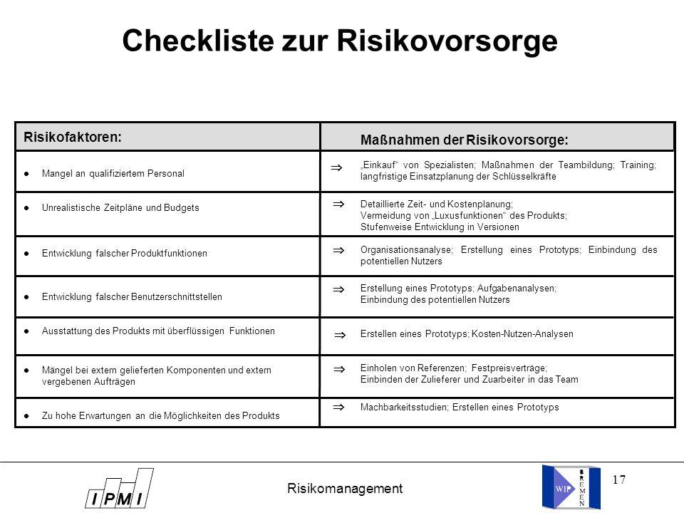 17 Checkliste zur Risikovorsorge Risikofaktoren: l Mangel an qualifiziertem Personal l Unrealistische Zeitpläne und Budgets l Entwicklung falscher Pro