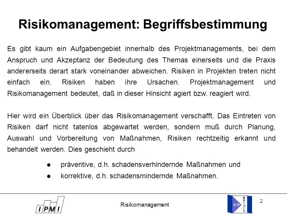 23 Projekt: Arbeitspaket Nr.: Risiken sachlich terminlichfinanziell Bearbeiter: (verantwortlich) Risikoanalyse Datum: Auswirkungen auf Arbeitspaket Nr.: mögliche Ursachen vorbeugende Maßnahmen korrigierende Maßnahmen Arbeitsblatt zur Risikoanalyse PMF Bild 25 / 13 Risikomanagement