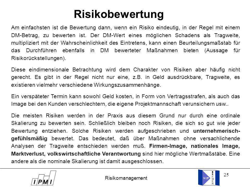 25 Risikobewertung Am einfachsten ist die Bewertung dann, wenn ein Risiko eindeutig, in der Regel mit einem DM-Betrag, zu bewerten ist. Der DM-Wert ei