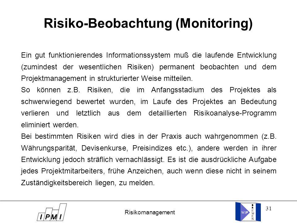 31 Risiko-Beobachtung (Monitoring) Ein gut funktionierendes Informationssystem muß die laufende Entwicklung (zumindest der wesentlichen Risiken) perma