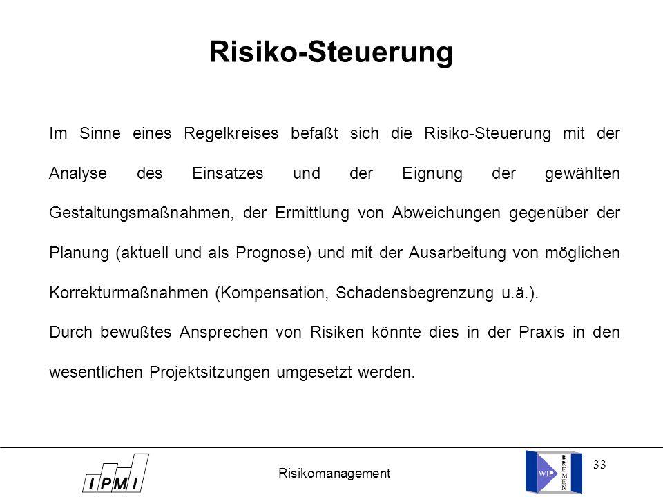 33 Risiko-Steuerung Im Sinne eines Regelkreises befaßt sich die Risiko-Steuerung mit der Analyse des Einsatzes und der Eignung der gewählten Gestaltun