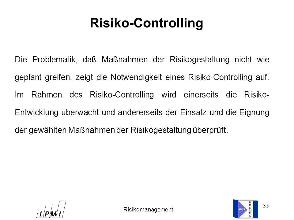 35 Risiko-Controlling Die Problematik, daß Maßnahmen der Risikogestaltung nicht wie geplant greifen, zeigt die Notwendigkeit eines Risiko-Controlling
