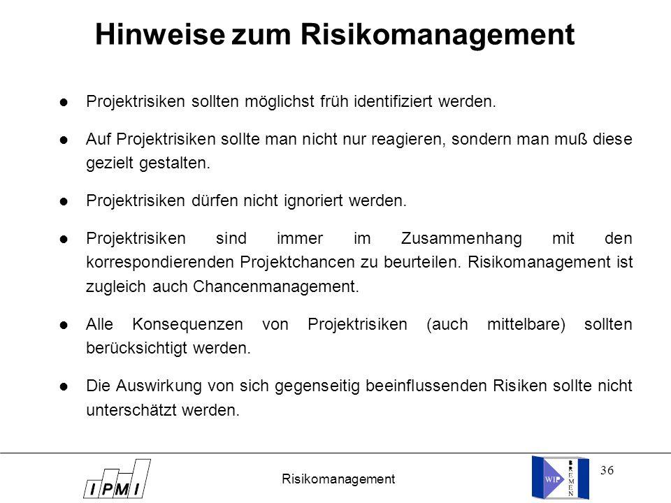 36 Hinweise zum Risikomanagement Projektrisiken sollten möglichst früh identifiziert werden. Auf Projektrisiken sollte man nicht nur reagieren, sonder