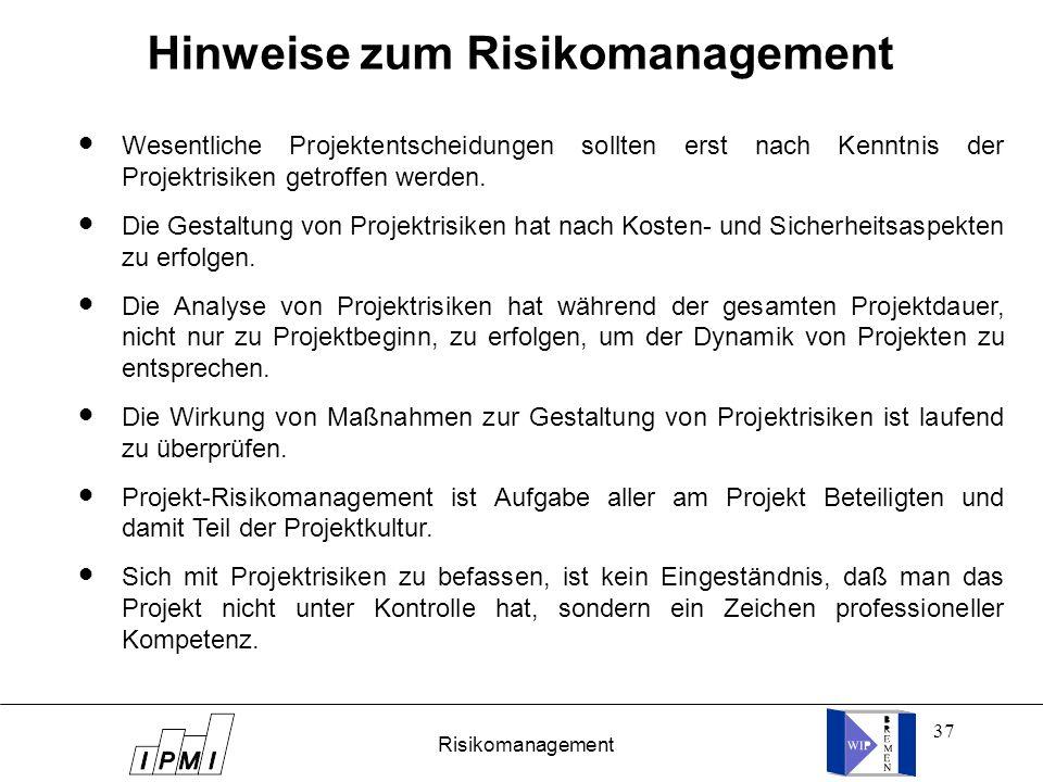 37 Hinweise zum Risikomanagement Wesentliche Projektentscheidungen sollten erst nach Kenntnis der Projektrisiken getroffen werden. Die Gestaltung von