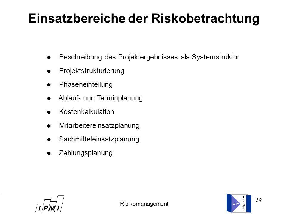 39 Einsatzbereiche der Riskobetrachtung l Beschreibung des Projektergebnisses als Systemstruktur l Projektstrukturierung l Phaseneinteilung l Ablauf-
