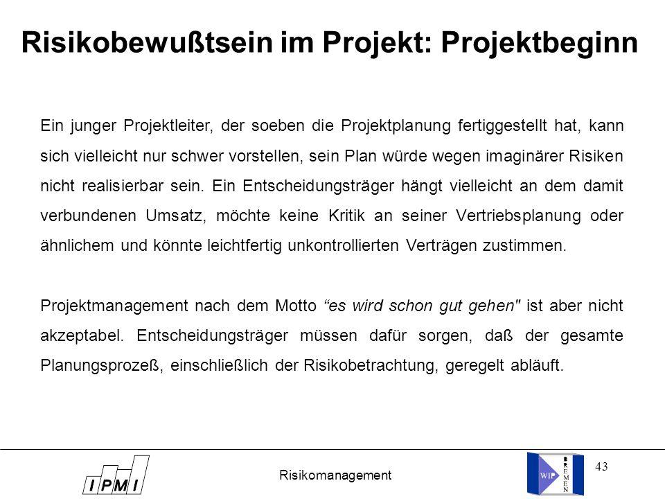 43 Risikobewußtsein im Projekt: Projektbeginn Ein junger Projektleiter, der soeben die Projektplanung fertiggestellt hat, kann sich vielleicht nur sch