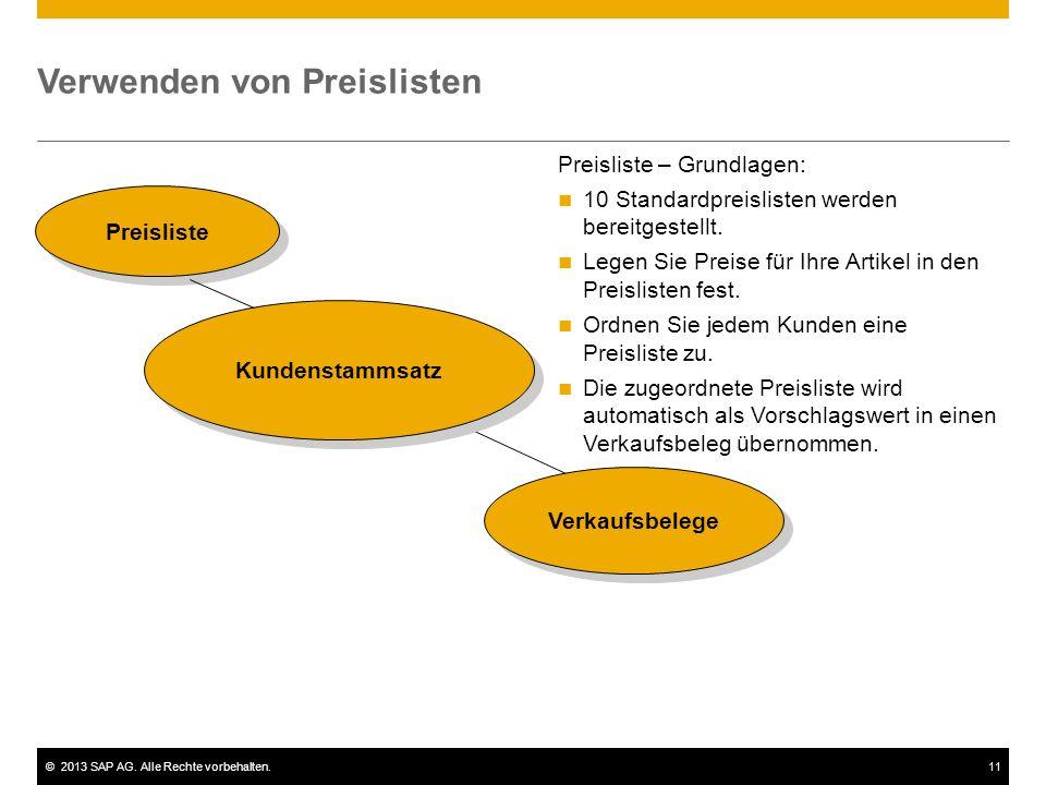 ©2013 SAP AG. Alle Rechte vorbehalten.11 Verwenden von Preislisten Preisliste Kundenstammsatz Verkaufsbelege Preisliste – Grundlagen: 10 Standardpreis