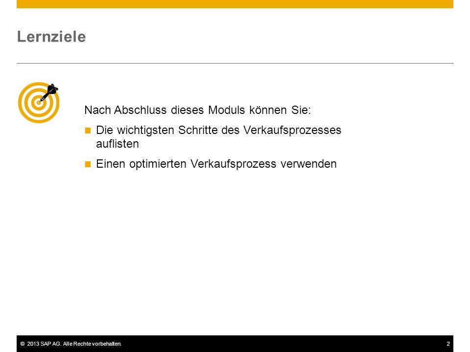 ©2013 SAP AG. Alle Rechte vorbehalten.2 Nach Abschluss dieses Moduls können Sie: Die wichtigsten Schritte des Verkaufsprozesses auflisten Einen optimi