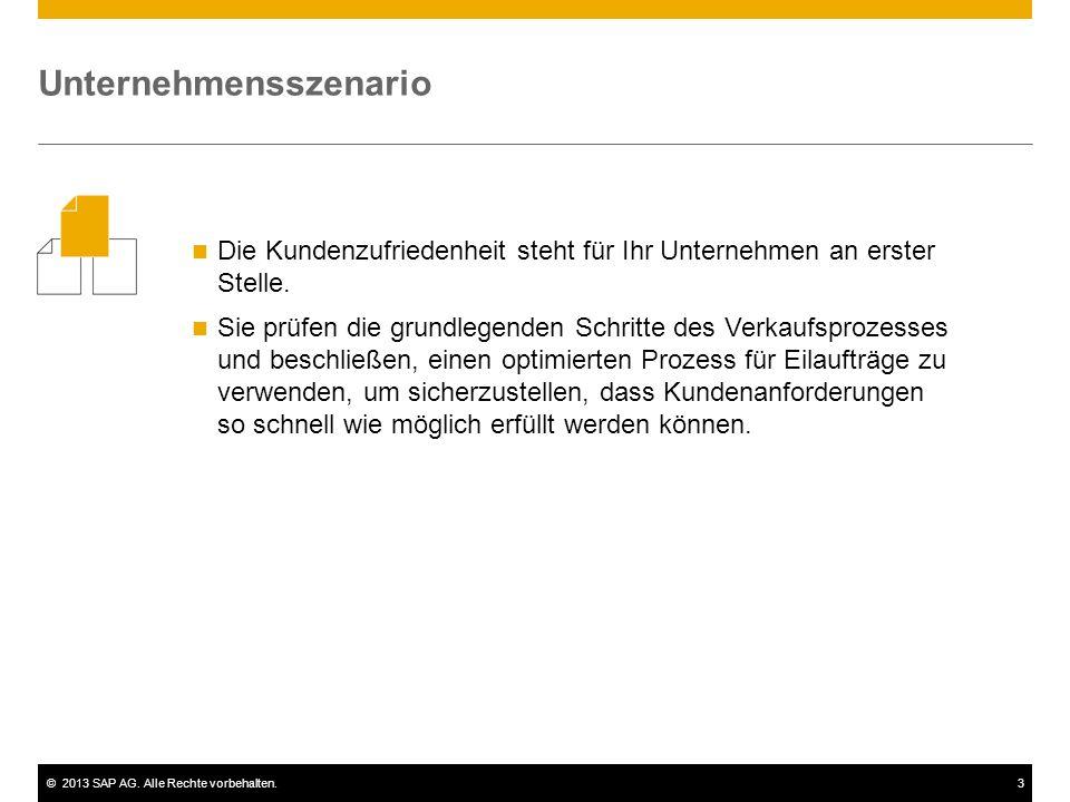 ©2013 SAP AG. Alle Rechte vorbehalten.3 Die Kundenzufriedenheit steht für Ihr Unternehmen an erster Stelle. Sie prüfen die grundlegenden Schritte des
