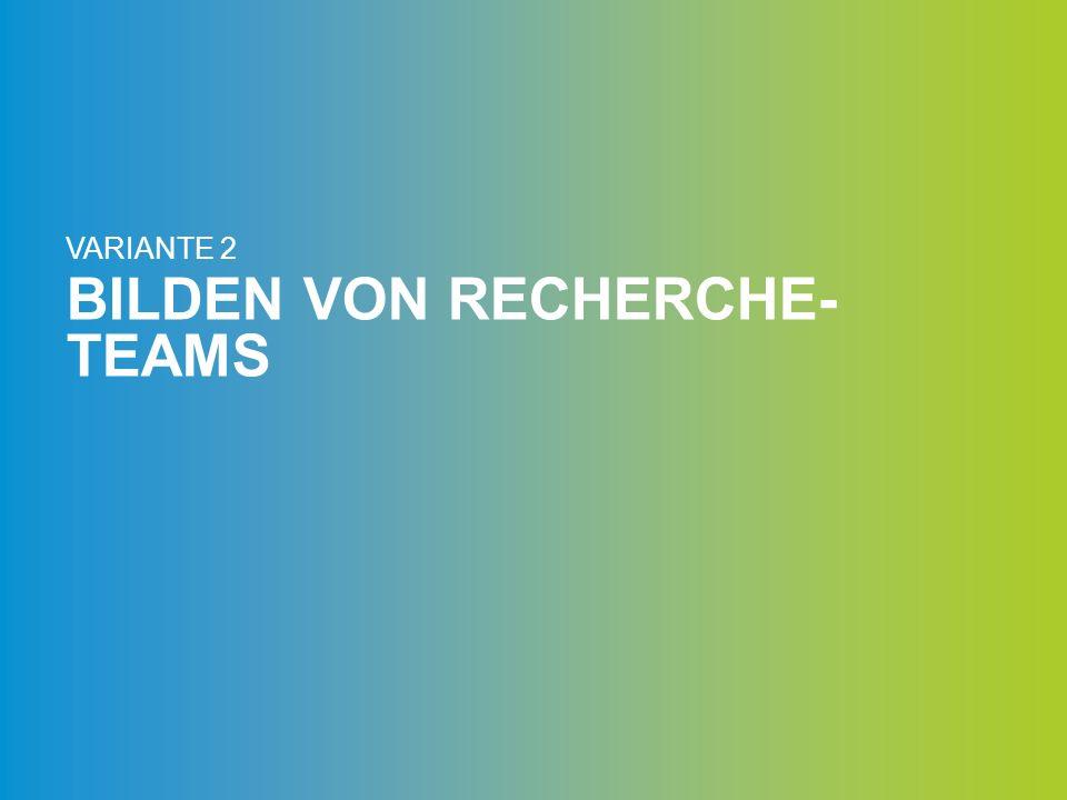 BILDEN VON RECHERCHE- TEAMS VARIANTE 2