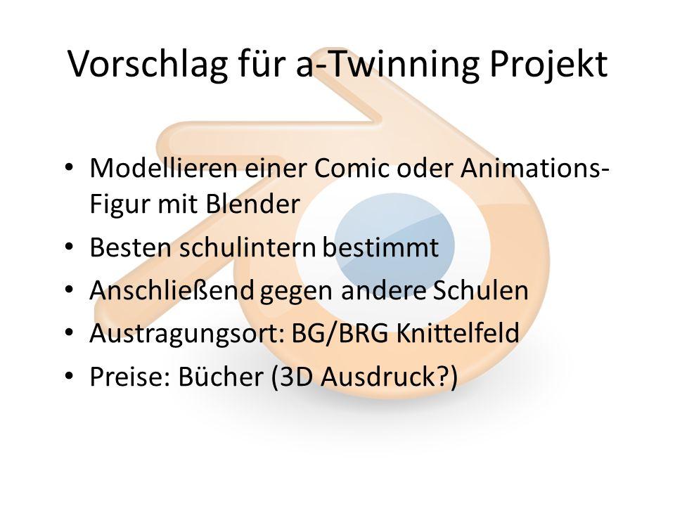 Vorschlag für a-Twinning Projekt Modellieren einer Comic oder Animations- Figur mit Blender Besten schulintern bestimmt Anschließend gegen andere Schulen Austragungsort: BG/BRG Knittelfeld Preise: Bücher (3D Ausdruck )