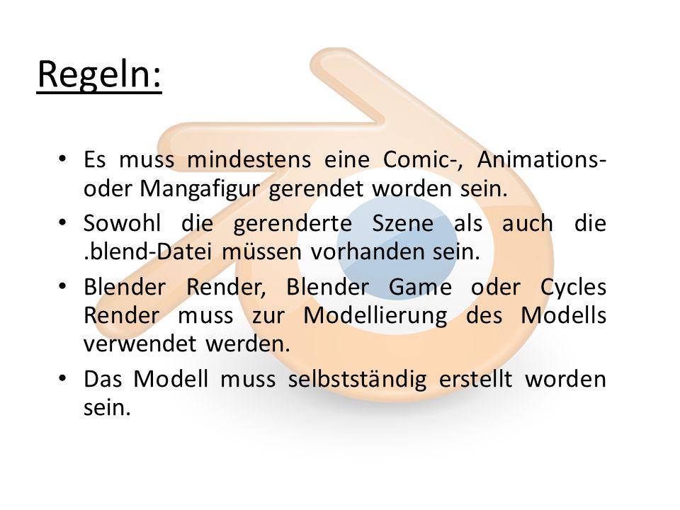 Regeln: Es muss mindestens eine Comic-, Animations- oder Mangafigur gerendet worden sein.