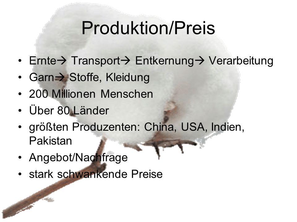 Produktion/Preis Ernte  Transport  Entkernung  Verarbeitung Garn  Stoffe, Kleidung 200 Millionen Menschen Über 80 Länder größten Produzenten: Chin