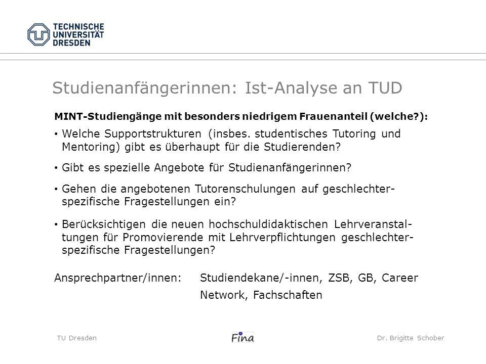 Studienanfängerinnen: Ist-Analyse an TUD TU Dresden Dr. Brigitte Schober MINT-Studiengänge mit besonders niedrigem Frauenanteil (welche?): Welche Supp