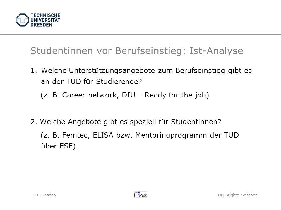 Studentinnen vor Berufseinstieg: Ist-Analyse TU Dresden Dr. Brigitte Schober 1.Welche Unterstützungsangebote zum Berufseinstieg gibt es an der TUD für