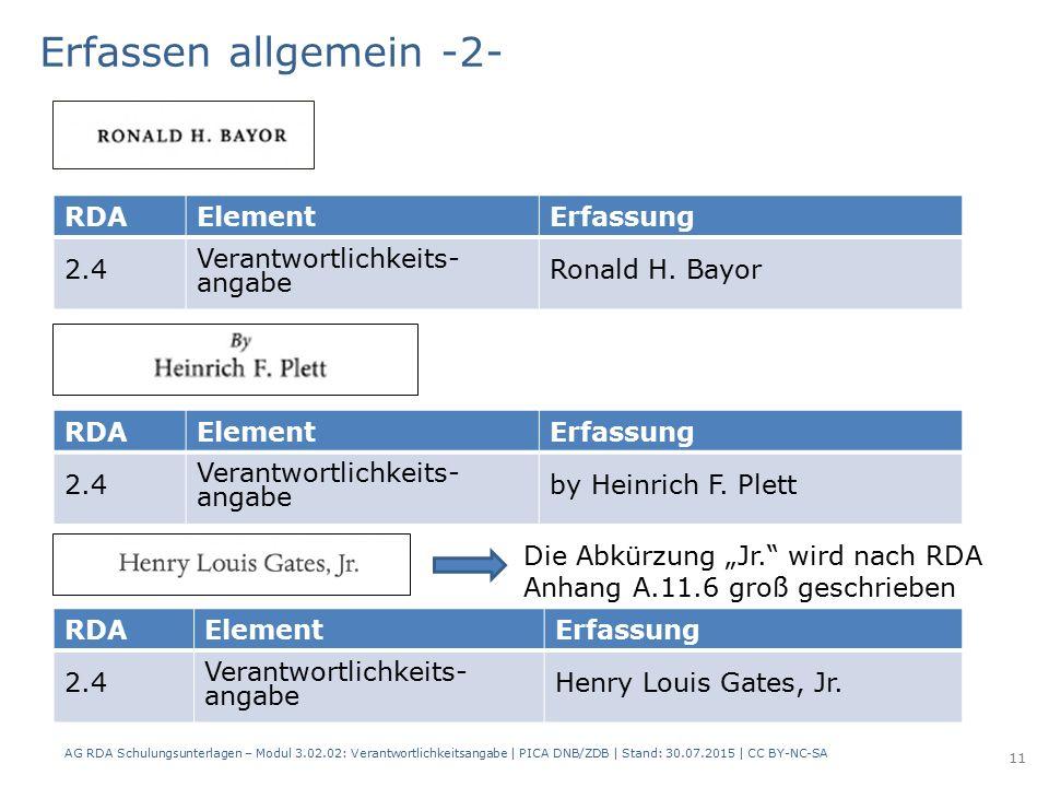 RDAElementErfassung 2.4 Verantwortlichkeits- angabe Ronald H.