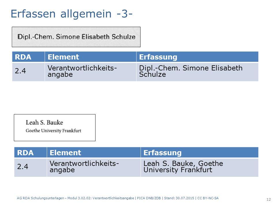 RDAElementErfassung 2.4 Verantwortlichkeits- angabe Dipl.-Chem.