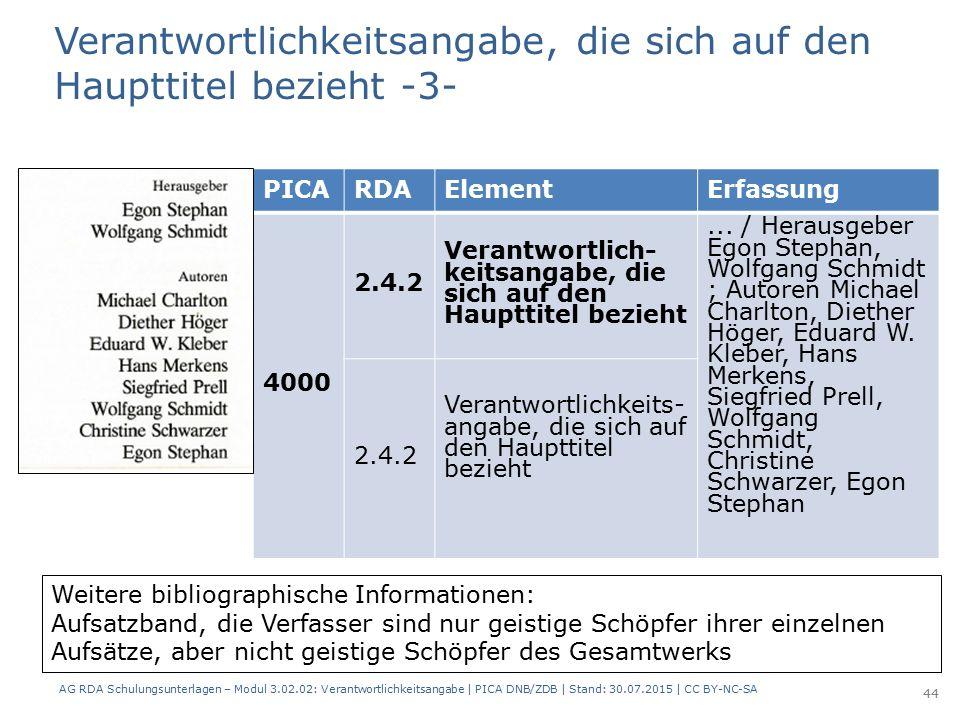 PICARDAElementErfassung 4000 2.4.2 Verantwortlich- keitsangabe, die sich auf den Haupttitel bezieht...