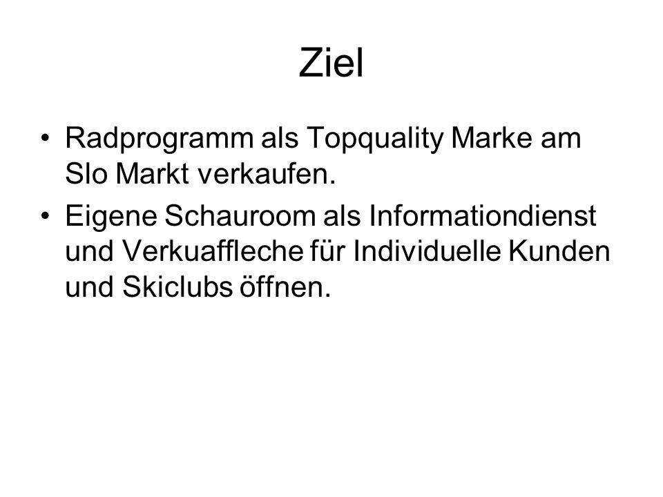 Ziel Radprogramm als Topquality Marke am Slo Markt verkaufen. Eigene Schauroom als Informationdienst und Verkuaffleche für Individuelle Kunden und Ski