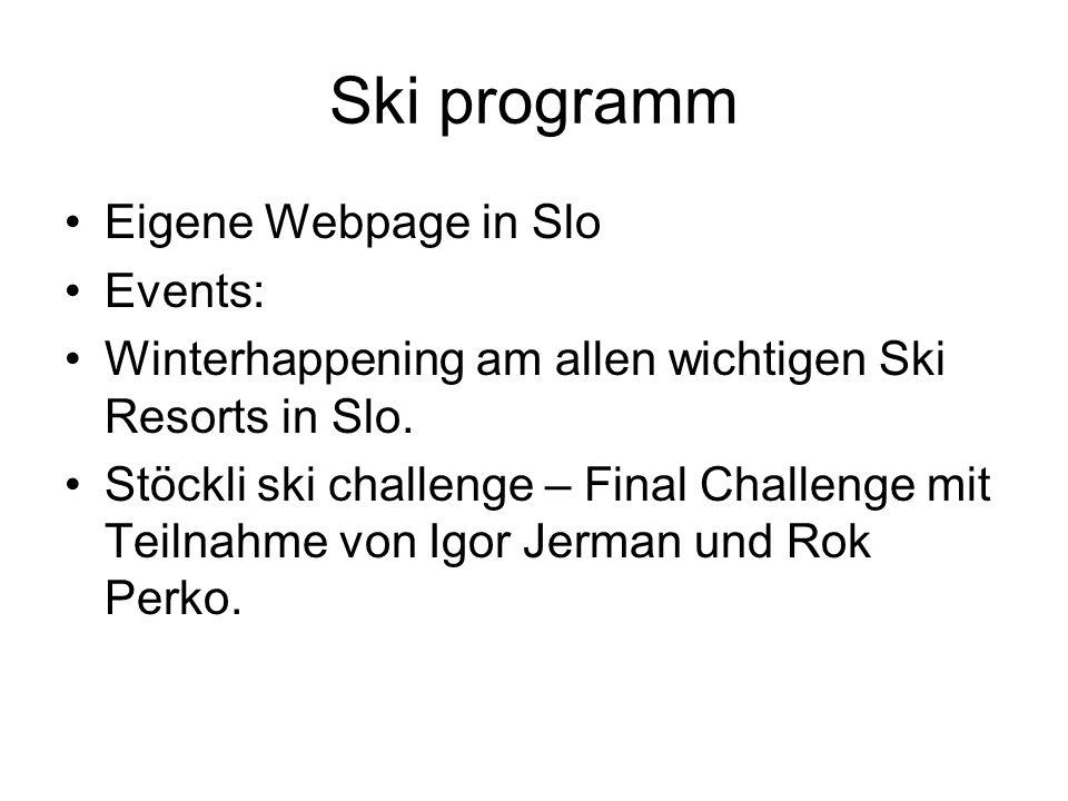 Ski programm Eigene Webpage in Slo Events: Winterhappening am allen wichtigen Ski Resorts in Slo. Stöckli ski challenge – Final Challenge mit Teilnahm