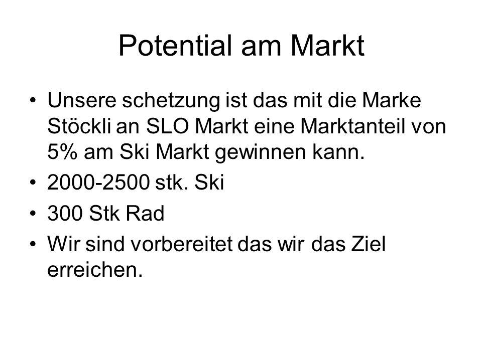 Potential am Markt Unsere schetzung ist das mit die Marke Stöckli an SLO Markt eine Marktanteil von 5% am Ski Markt gewinnen kann. 2000-2500 stk. Ski