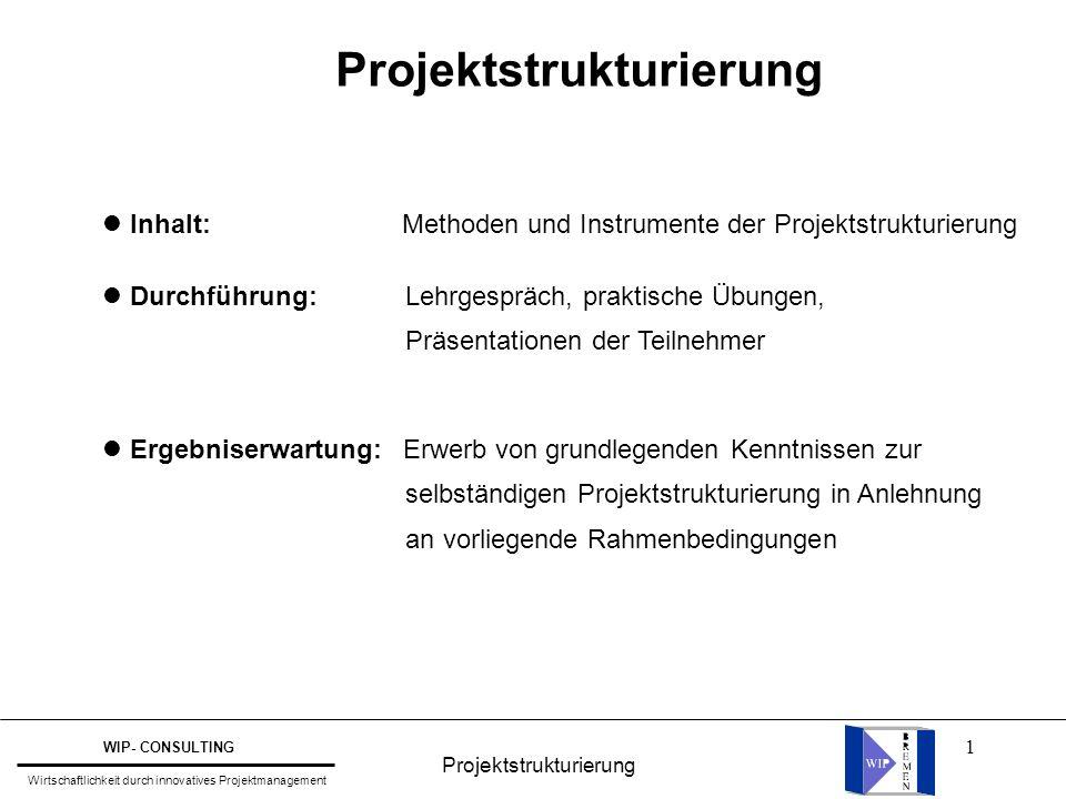 32 Übungsaufgabe Projektstrukturierung WIP- CONSULTING Wirtschaftlichkeit durch innovatives Projektmanagement Erstellen Sie einen komplett kodierten Projektstrukturplan für Ihre Fallstudie und begründen Sie Ihre Vorgehensweise.